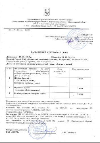 Радиацион сертификат Ушицкий карьер отсев